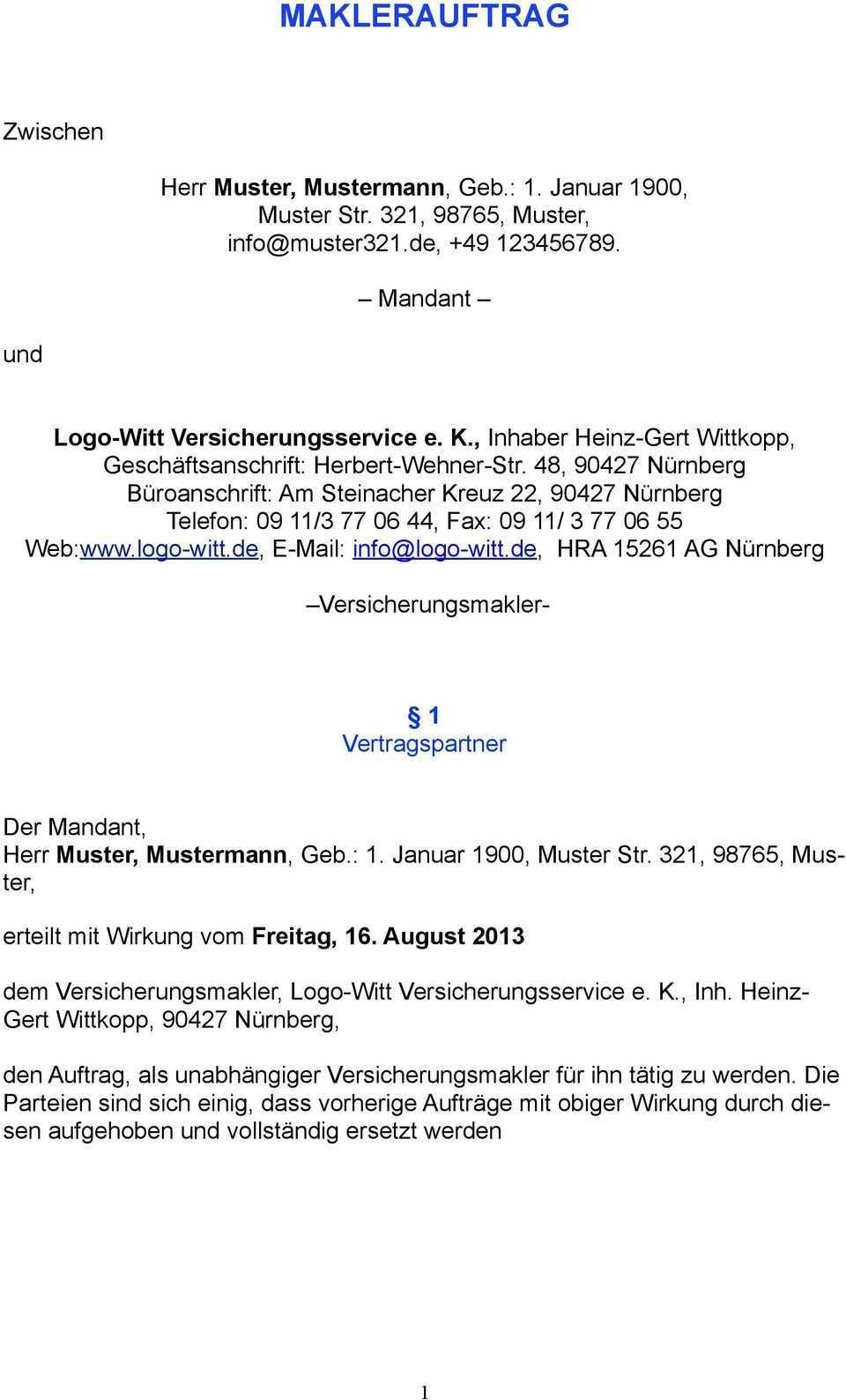 Maklerauftrag Herr Muster Mustermann Geb 1 Januar 1900 Muster Str 321 98765 Muster Pdf Free Download