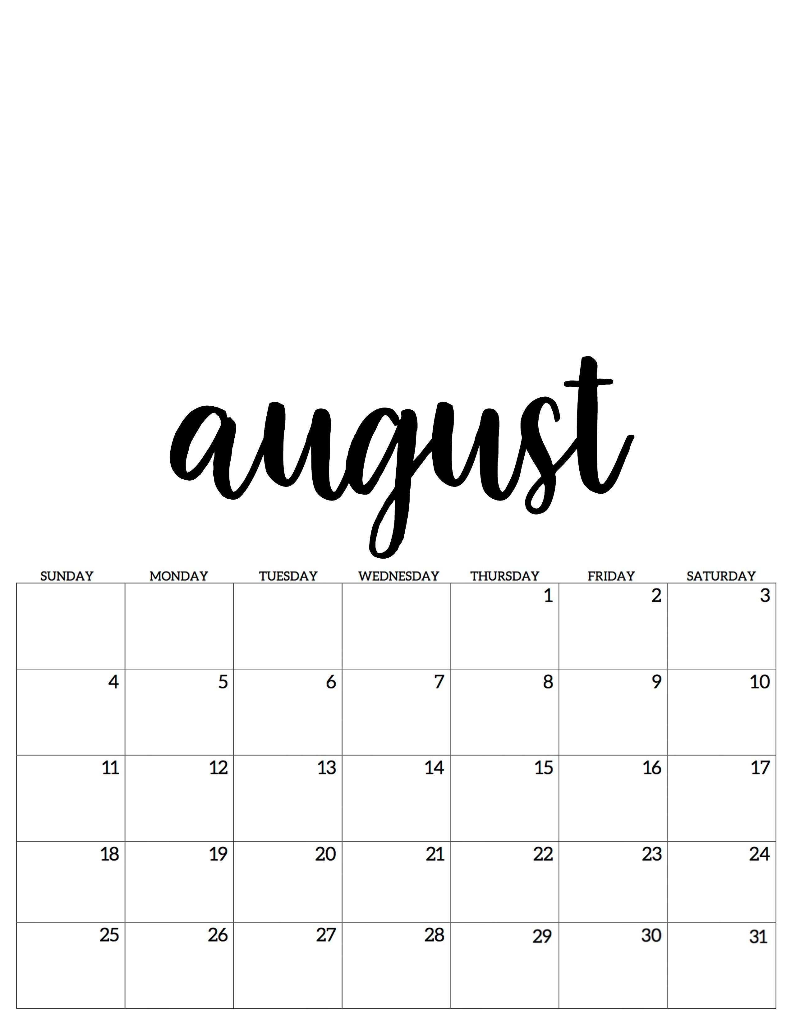 August Kalender Calendar 2019 August Kalender Kalender August Kalender Zum Ausdrucken