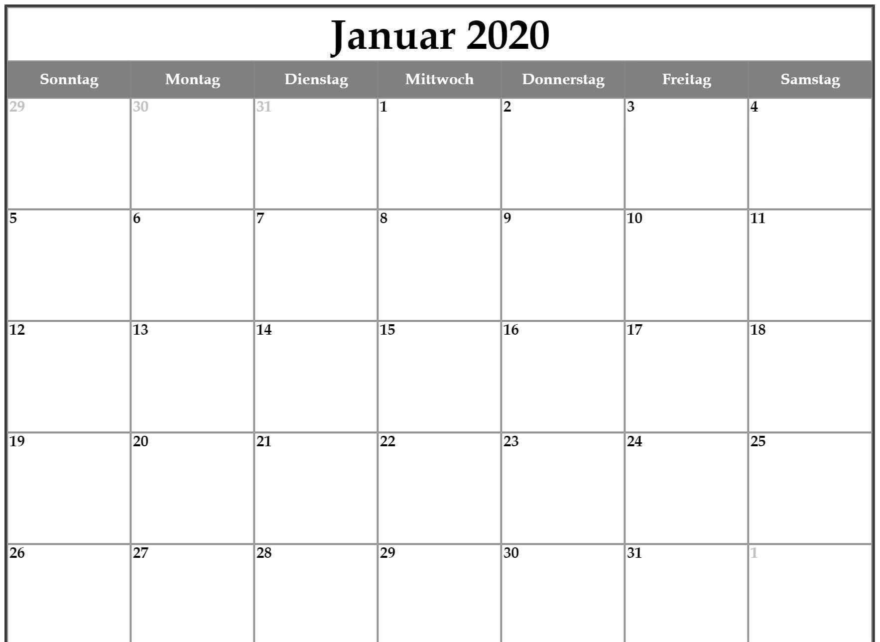 Januar 2020 Kalender Mit Feiertagen Kalender Vorlagen Kalender Feiertage Druckbarer Kalender
