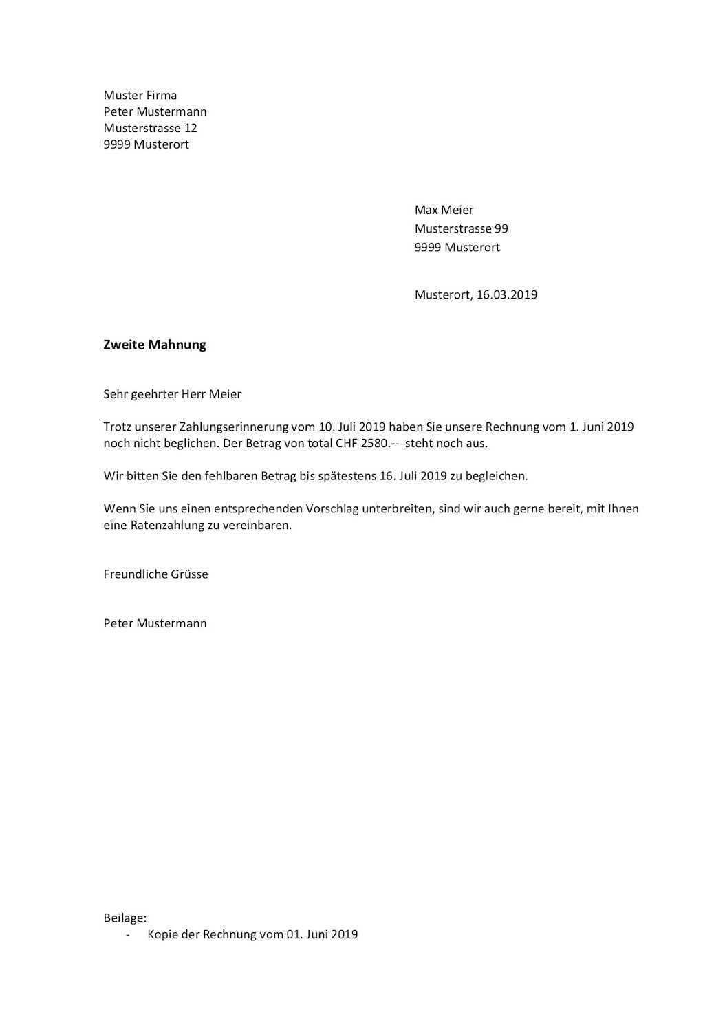 Mahnung Vorlage Schweiz Word Muster Vorlage Ch