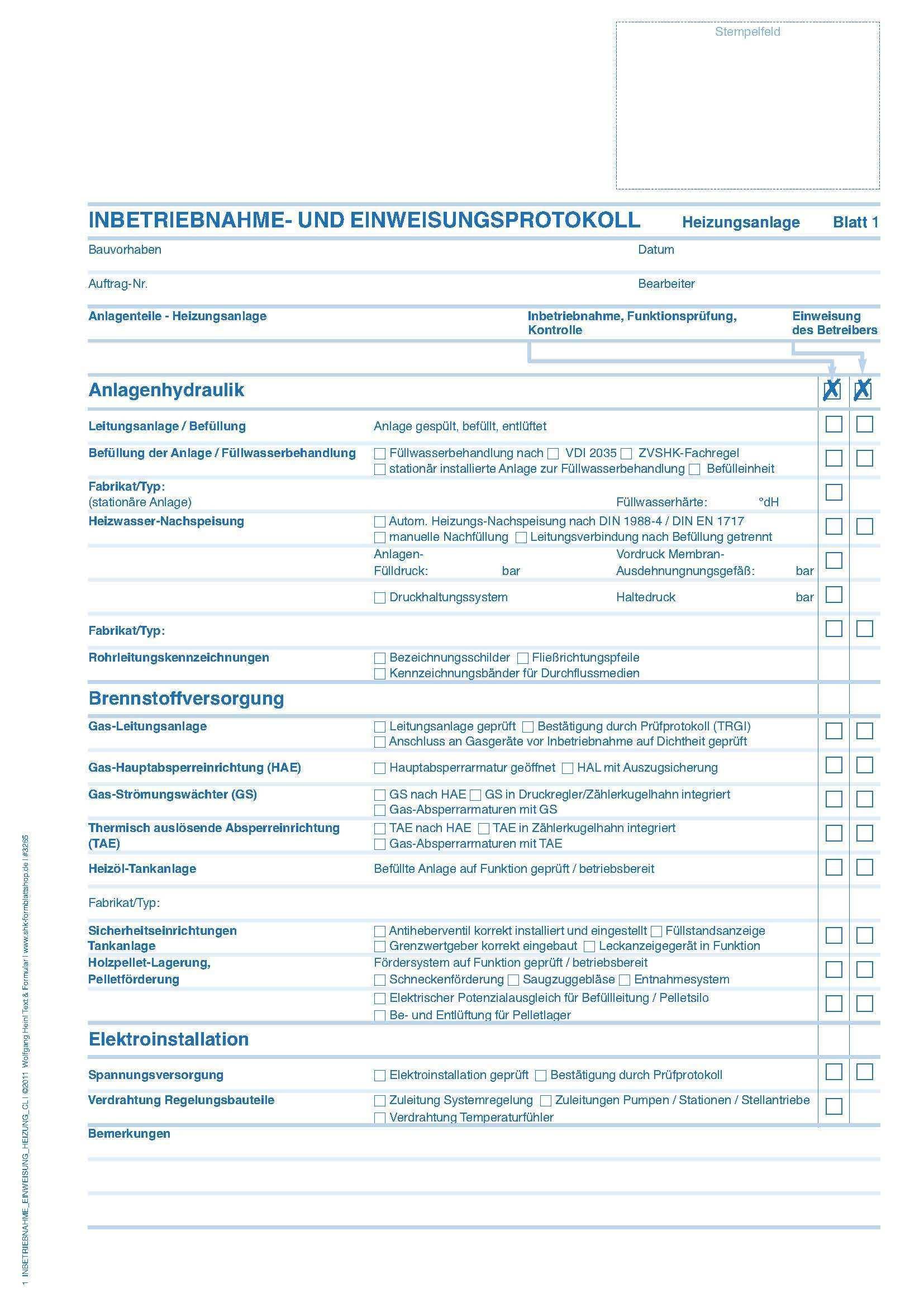 Inbetriebnahme Und Einweisungs Protokoll Fur Heizungs Und Solarthermieanlagen Formulare Shk Formulare Produkte Holzmann Medienshop