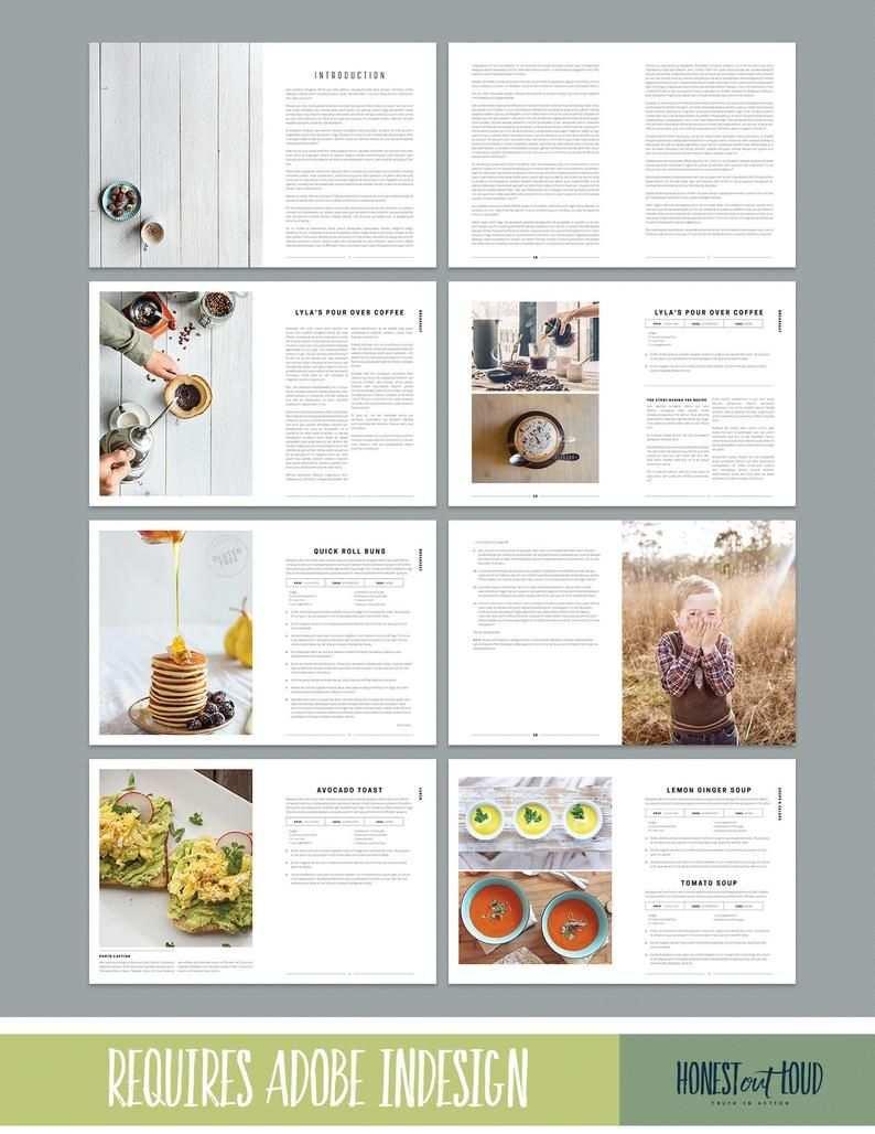 Cookbook And Recipe Template For Adobe Indesign Instant Etsy Recipe Book Design Cookbook Design Cookbook Template