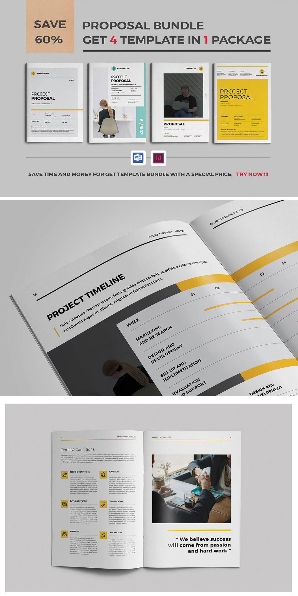 Proposal Bundle Indesign Templates Portfolio Template Design Templates