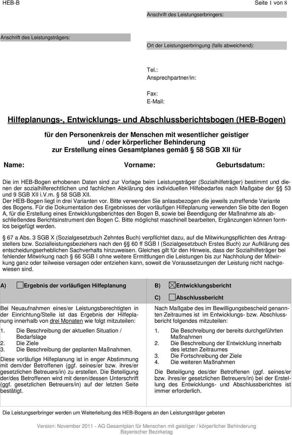 Hilfeplanungs Entwicklungs Und Abschlussberichtsbogen Heb Bogen Pdf Kostenfreier Download
