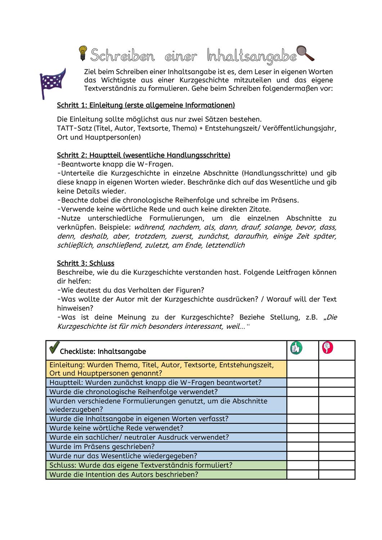 Inhaltsangabe Kurzgeschichte Unterrichtsmaterial Im Fach Deutsch Inhaltsangabe Kurzgeschichten Geschichte