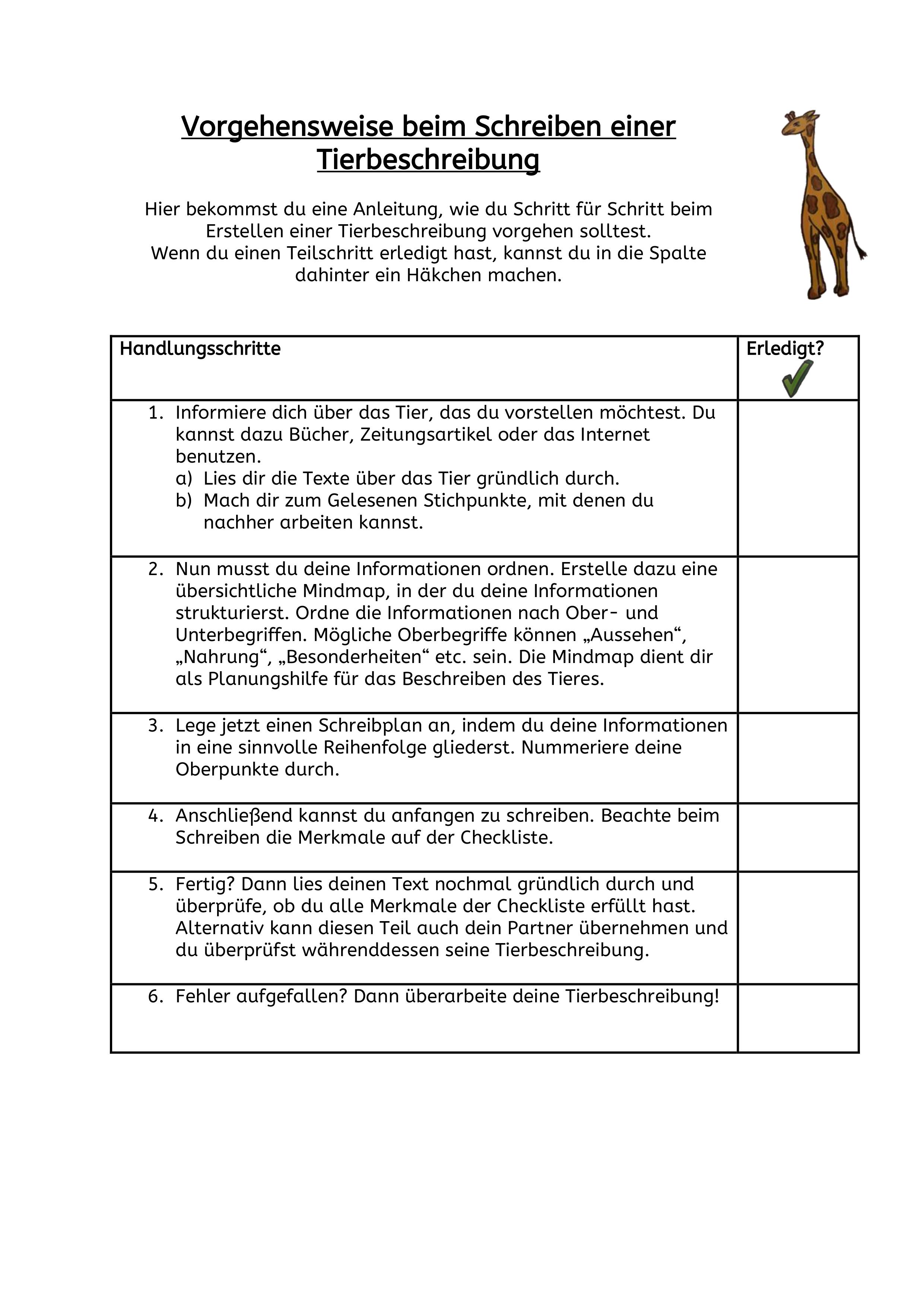Tierbeschreibung Unterrichtsmaterial Im Fach Deutsch Checklisten Vorlage Unterrichtsmaterial Deutsch Unterricht
