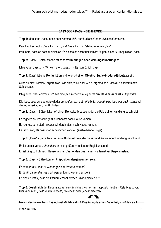 Dass Satze Vs Relativsatze Dass Oder Das Unterrichtsmaterial Im Fach Deutsch Einfache Satze Klassenarbeiten Nebensatz