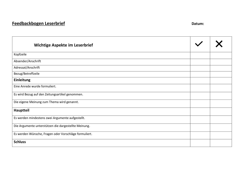 Feedbackbogen Leserbrief Unterrichtsmaterial In Den Fachern Deutsch Fachubergreifendes Deutsch Unterricht Unterrichtsmaterial Deutsch Lernen