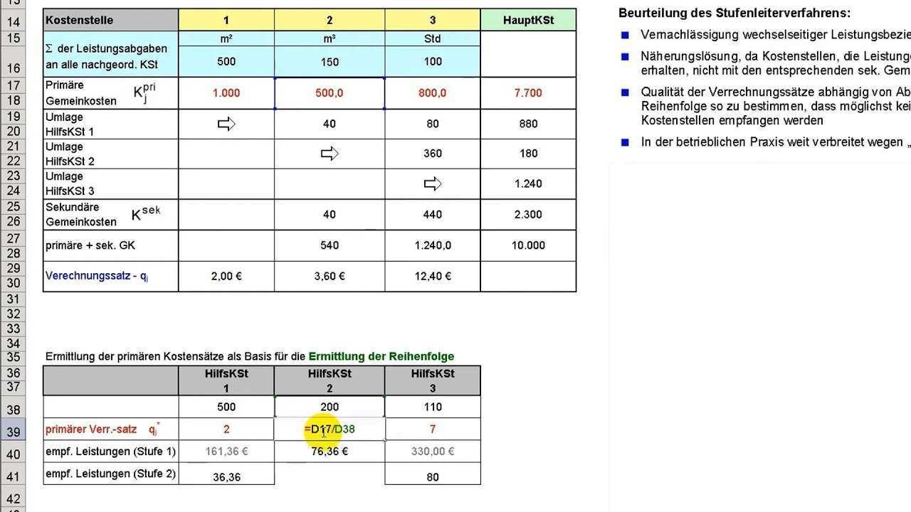 Stufenleiterverfahren Teil 2 Reihenfolge Zur Abrechnung Der Hilfskostenstellen Beispiel Youtube