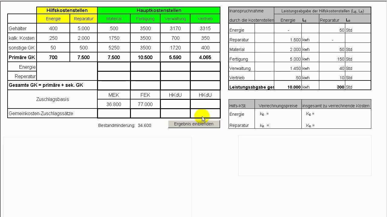 Teil Iii Kostenrechnung Zuschlagskalkulation Bab Innerbetriebliche Leistungsverrechnung Youtube