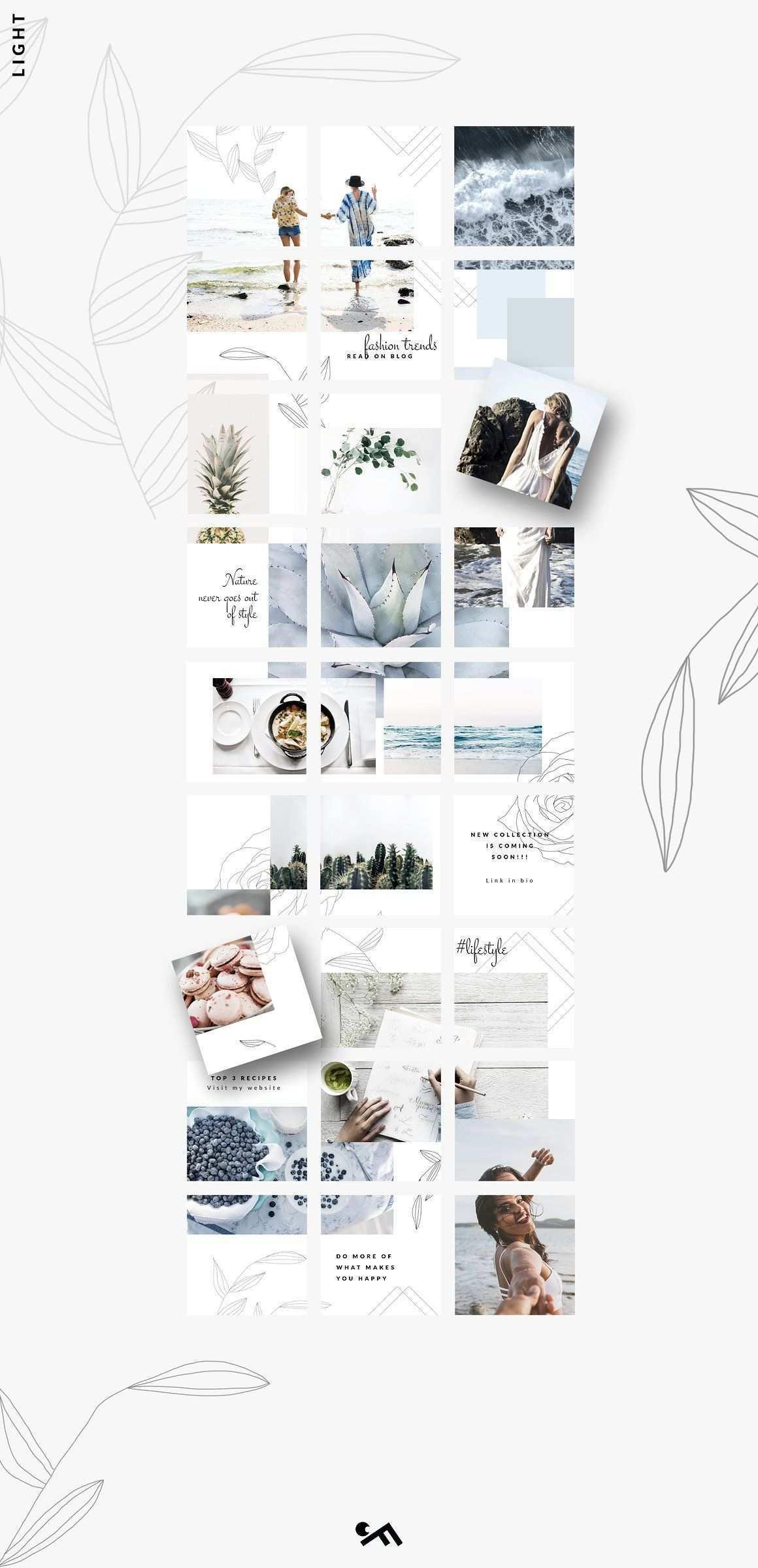 Instagram Puzzle Template Light Instagram Template Instagram Grid Graphic Design Resources
