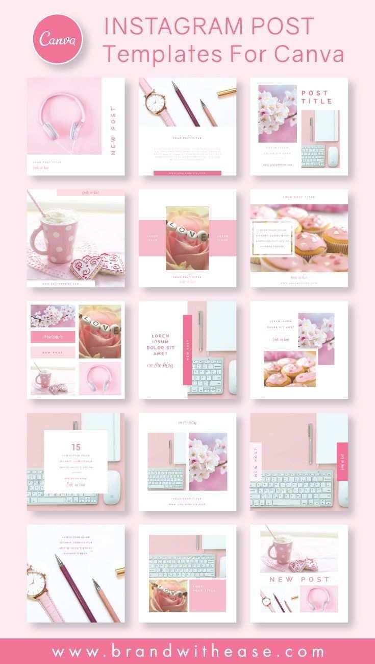 Instagram Post Templates Blush Photo Pack For Canva Instagram Post Template Instagram Template Design Instagram Design Layout