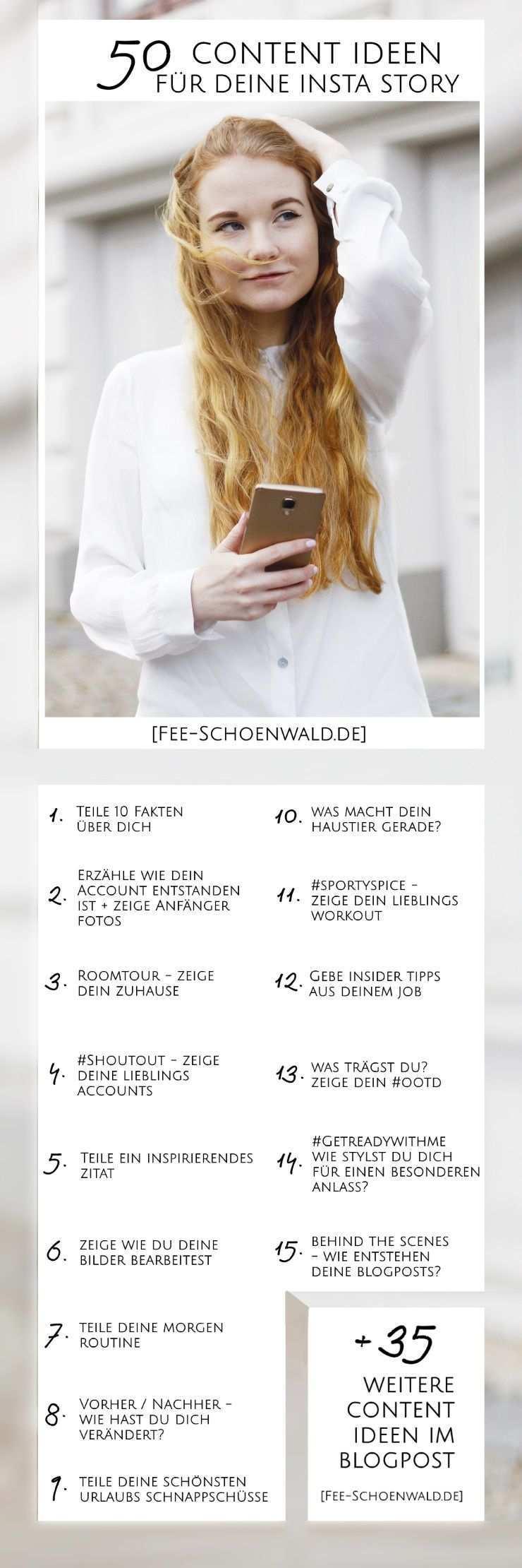 Fee Schoenwald Blogger Tipps 50 Content Ideen Instagram Story Instagram Tipps Tipps Instagram
