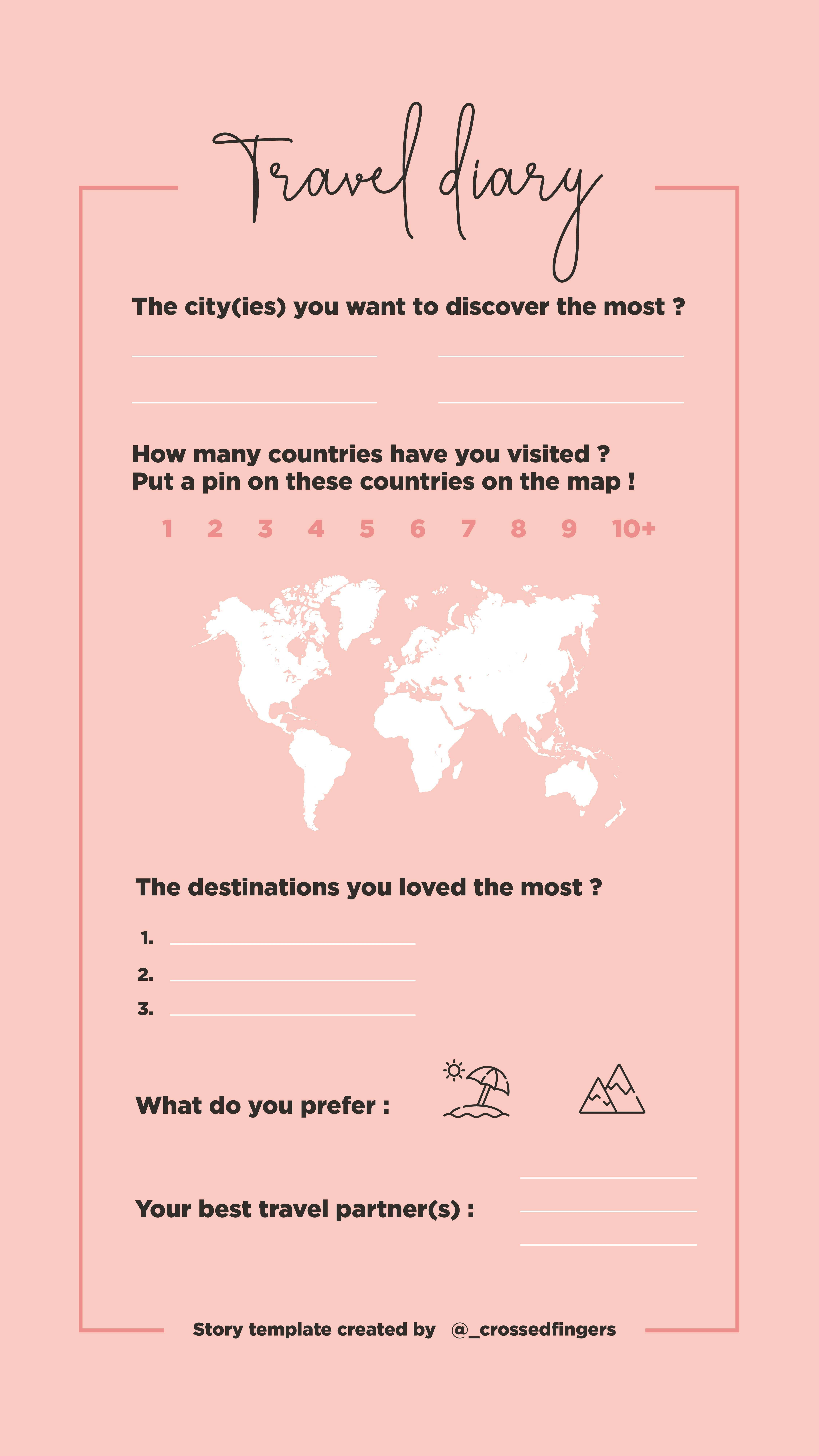 Template Instastory Travel Diary Template Instagram Story Travel Travelover Storytemplates Diary Template Travel Instagram Travel Diary