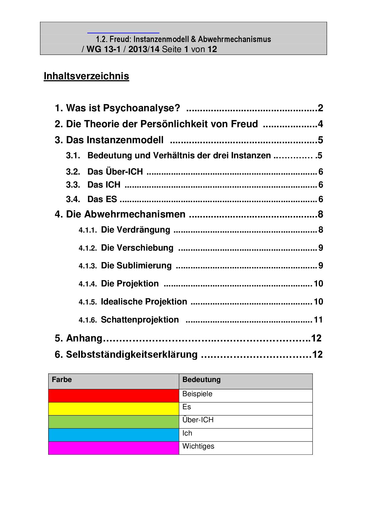 Freud Instanzenmodell Und Abwehrmechanismus Docsity