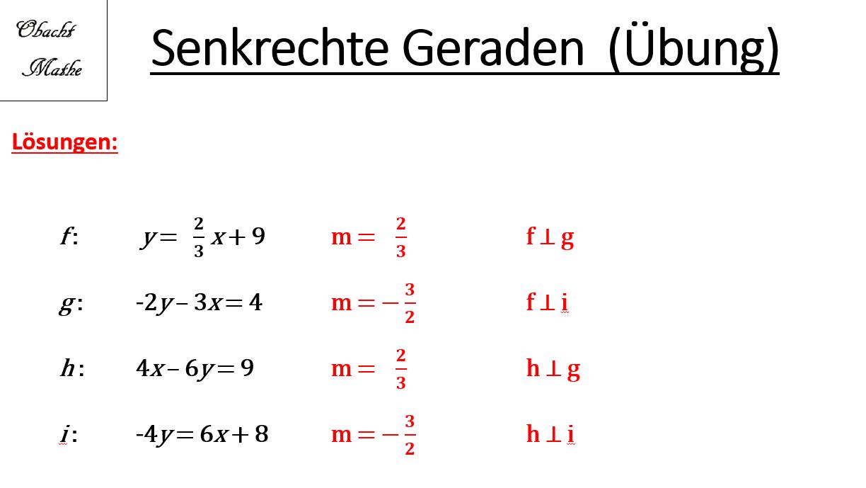 Senkrechte Geraden Orthogonale Geraden Ubungen Mit Losungen Lineare Funktionen Obachtmathe Mathe Mathematik Lernen Lineare Funktion