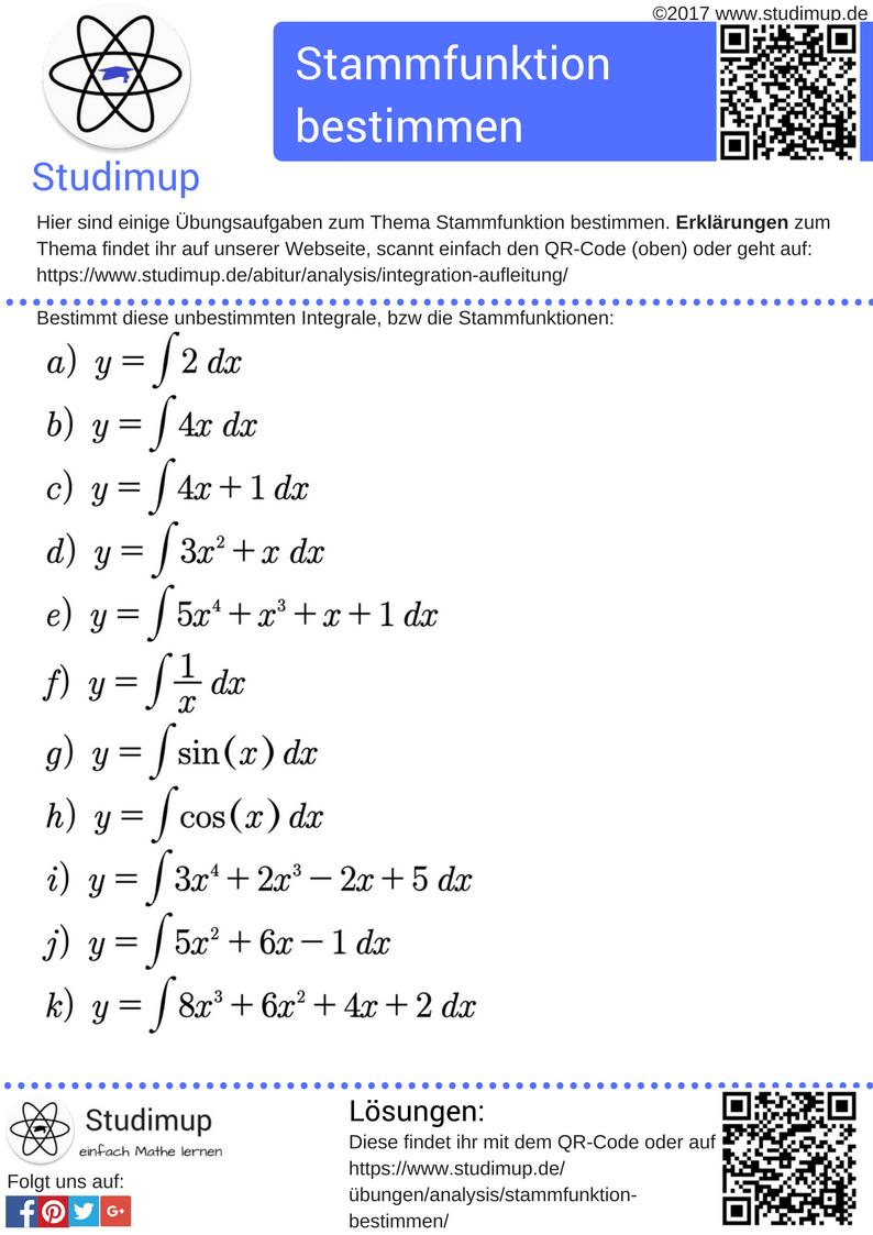 Ubungsaufgaben Zum Bestimmen Der Stammfunktion Mathe Ubungen Bei Studimup Fur Die Schule Stammfunktion Lernen Mathe