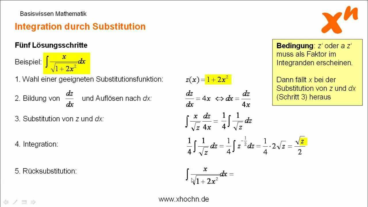 Integration Durch Substitution Youtube