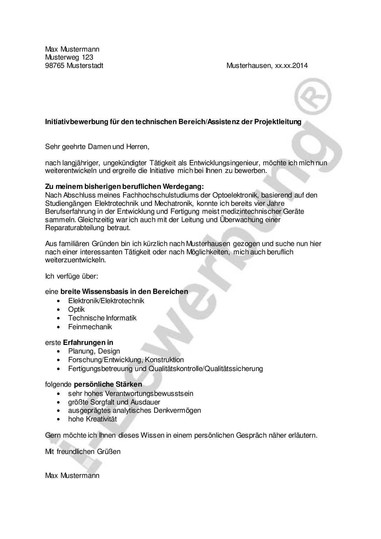 Initiativbewerbung Fur Den Technischen Bereich Assistenz Der Projektleitung Bewerbung Anschreiben Bewerbung Beruflicher Werdegang