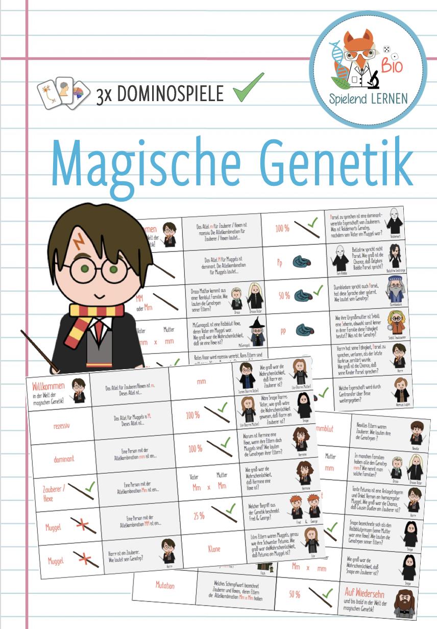 Magische Genetik 3x Dominospiele Unterrichtsmaterial Im Fach Biologie Domino Spiele Domino Spiele