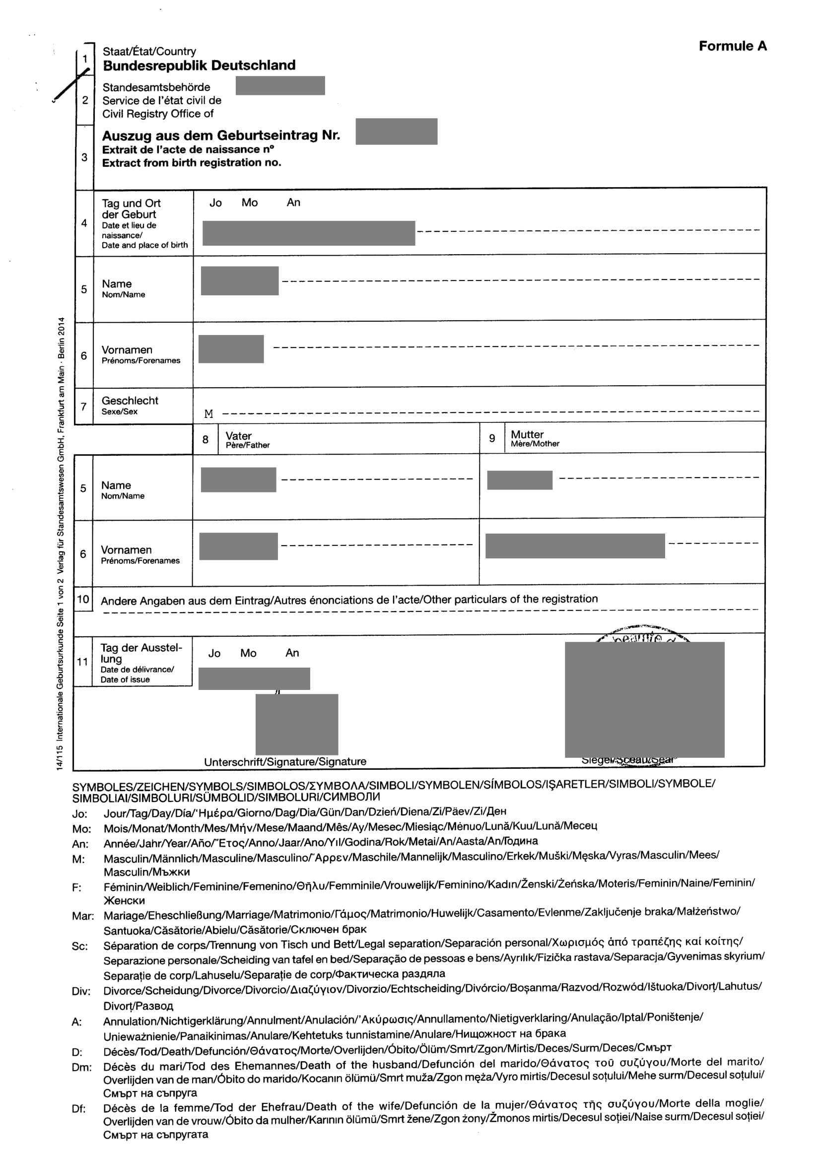 Auszug Aus Dem Geburtseintrag Musterubersetzungen Von Urkunden