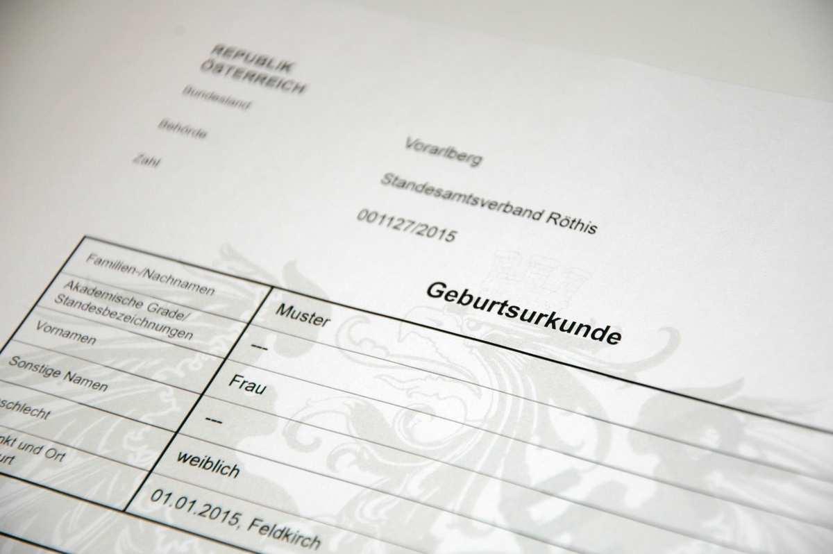 Geburtsurkunde Ihre Gemeinde Im Vorderland