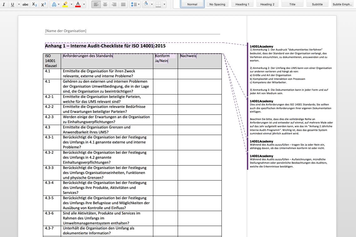 Iso 14001 2015 Internes Audit Toolkit