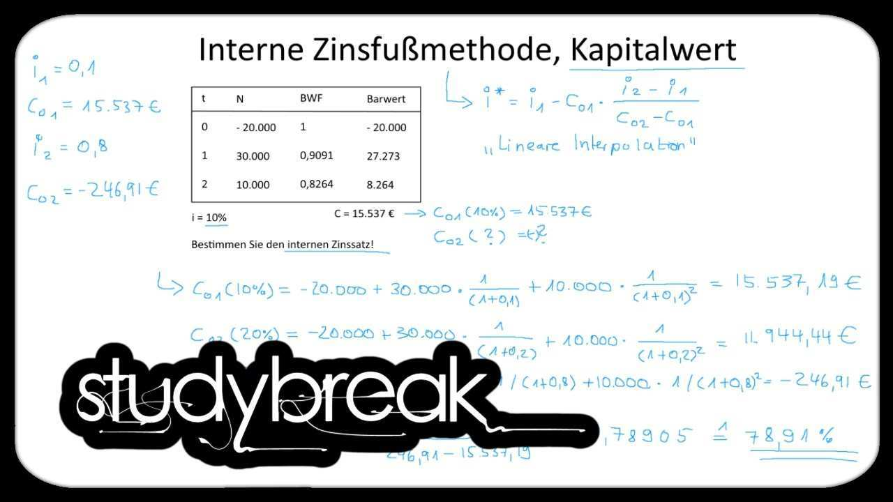 Interne Zinsfussmethode Lineare Interpolation Kapitalwert Investition Und Finanzierung Youtube