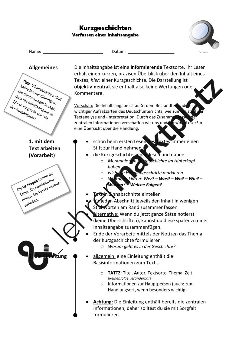 Inhaltsangabe Leitfaden Kurzgeschichten Word Pdf Mit Tipps Und Formulierungshilfen Unterrichtsmaterial Im Fach Deutsch Inhaltsangabe Kurzgeschichten Formulierungshilfen