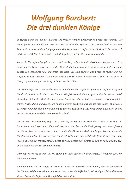 Kurzgeschichte Wolfgang Borchert Die Drei Dunklen Konige Analyse Kurzgeschichten Geschichte Inhaltsangabe