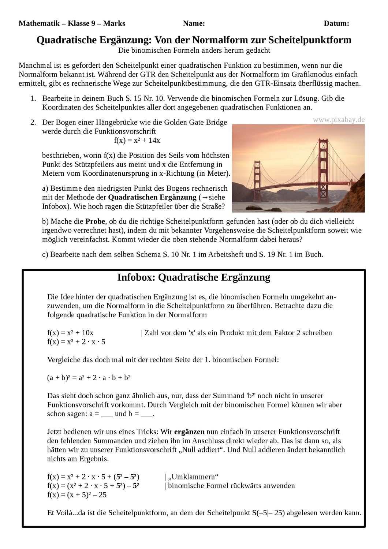 Quadratische Erganzung Von Der Normalform Zur Scheitelpunktform Quadratische Funktionen Quadratische Funktion Quadrat Mathematikunterricht