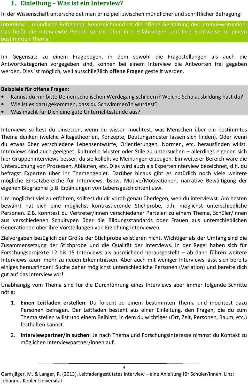 Leitfadengestutztes Interview Eine Anleitung Fur Schuler Innen Pdf Free Download