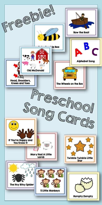 Preschool Song Cards Preschool Songs Preschool Circle Time Preschool Music