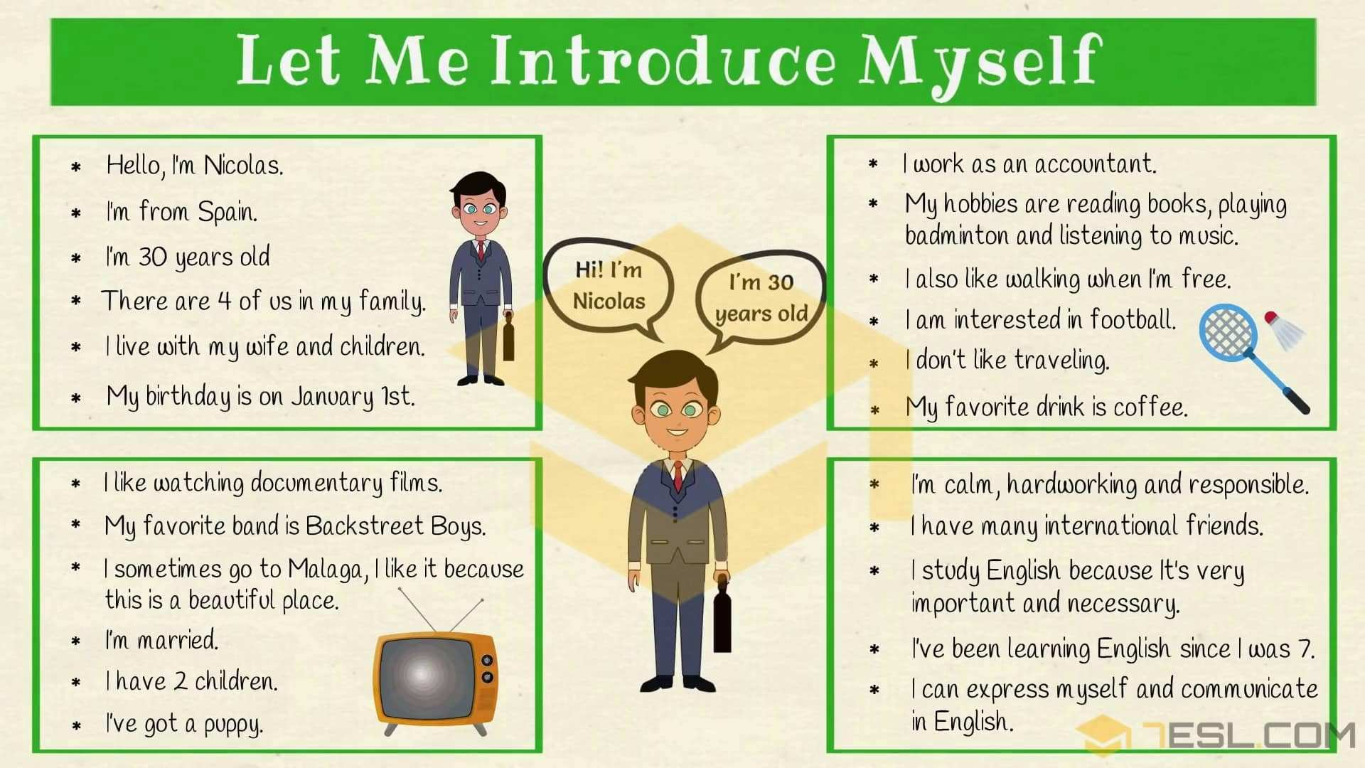 How To Introduce Yourself In English Self Introduction 7esl