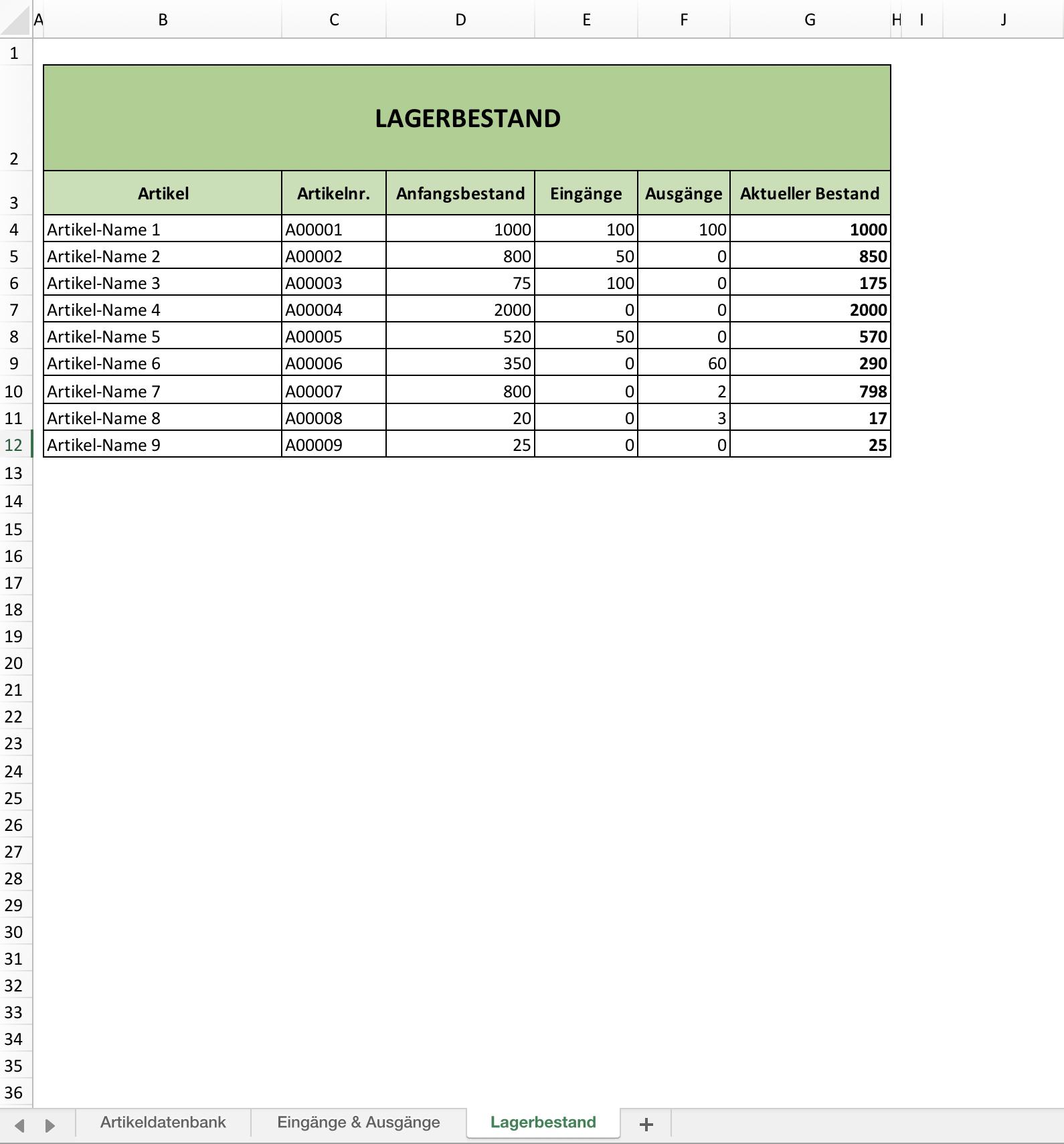 Lagerverwaltungs Vorlage Ganz Einfach Mit Excel
