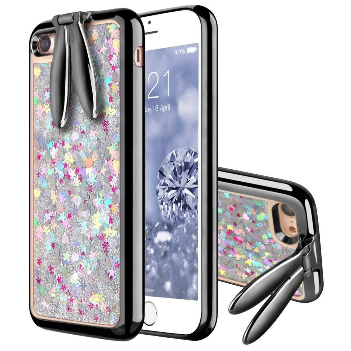 Iphone 7 Case Smartlegend Flowing Liquid Glitter 3d Bling Case With Cute Bunny Rabbit Ear Stand Sparkle Pc Hard Shell Soft Tpu Bumper Protective Iphone 7