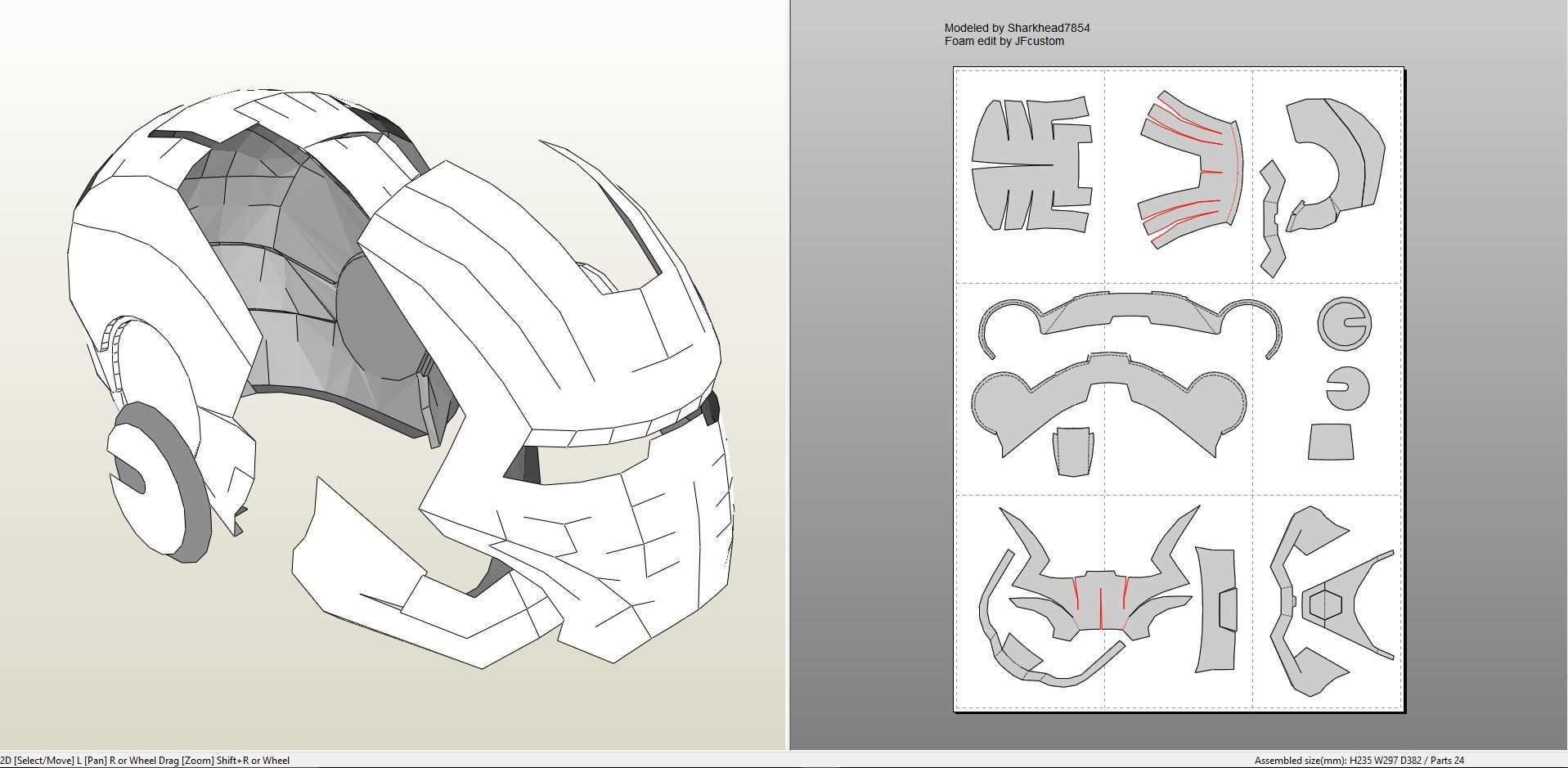 Papercraft Pdo File Template For Iron Man Mark 2 Full Armor Foam Iron Man Helmet Iron Man Mark 2 Pepakura Iron Man