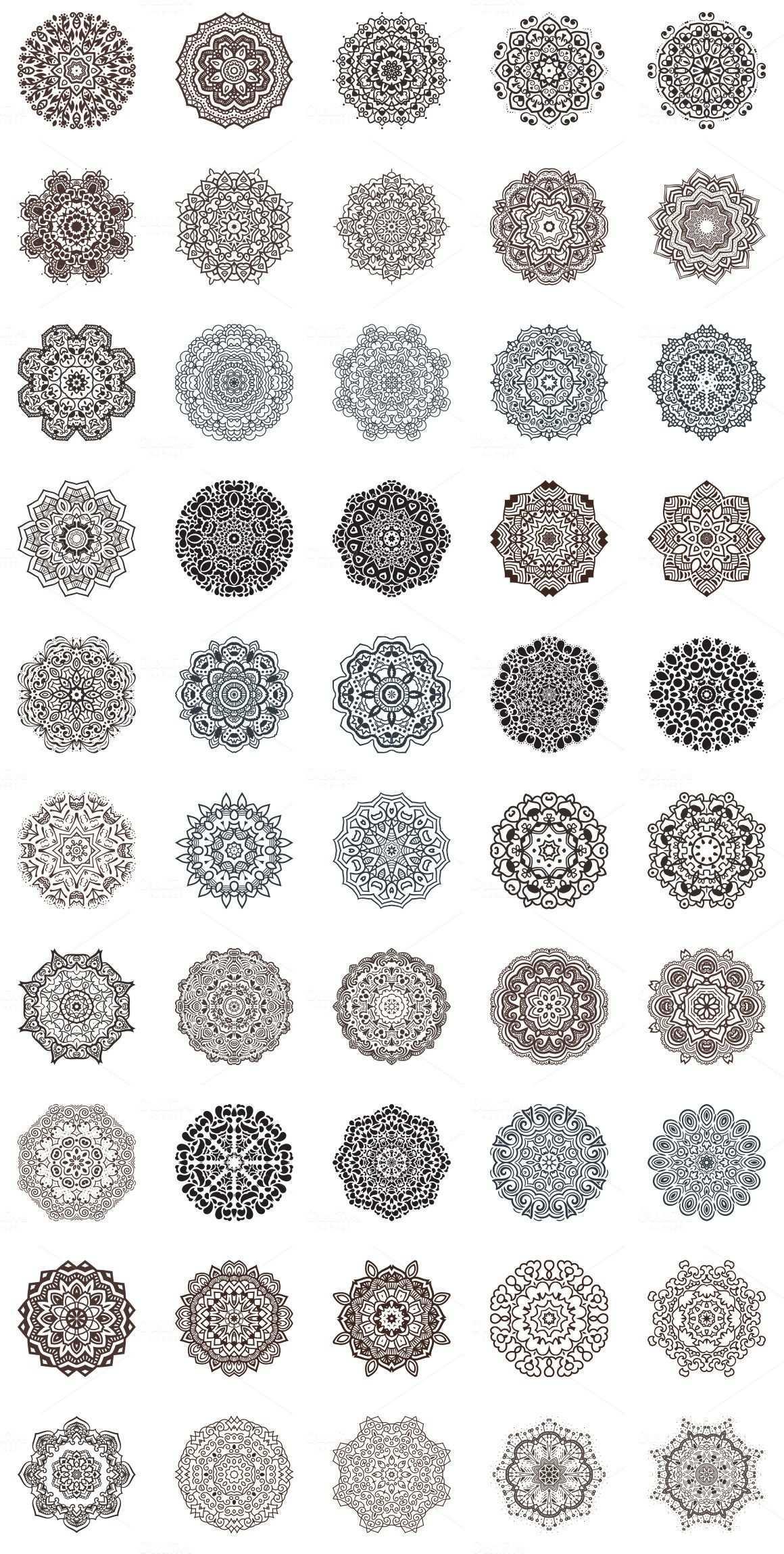 100 Vector Mandalas Round Ornaments Geometrie Tattoo Mandala Design Mandala Selber Malen
