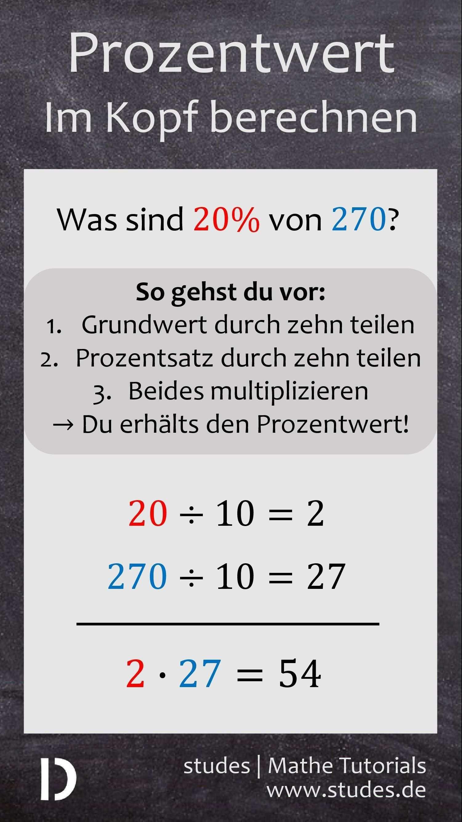 Prozentwert Im Kopf Berechnen Wie Berechnest Du In Sekunden Im Kopf Den Prozentwert Z B Im Geschaft Das Ist Mit D Lernen Tipps Schule Mathe Mathe Formeln