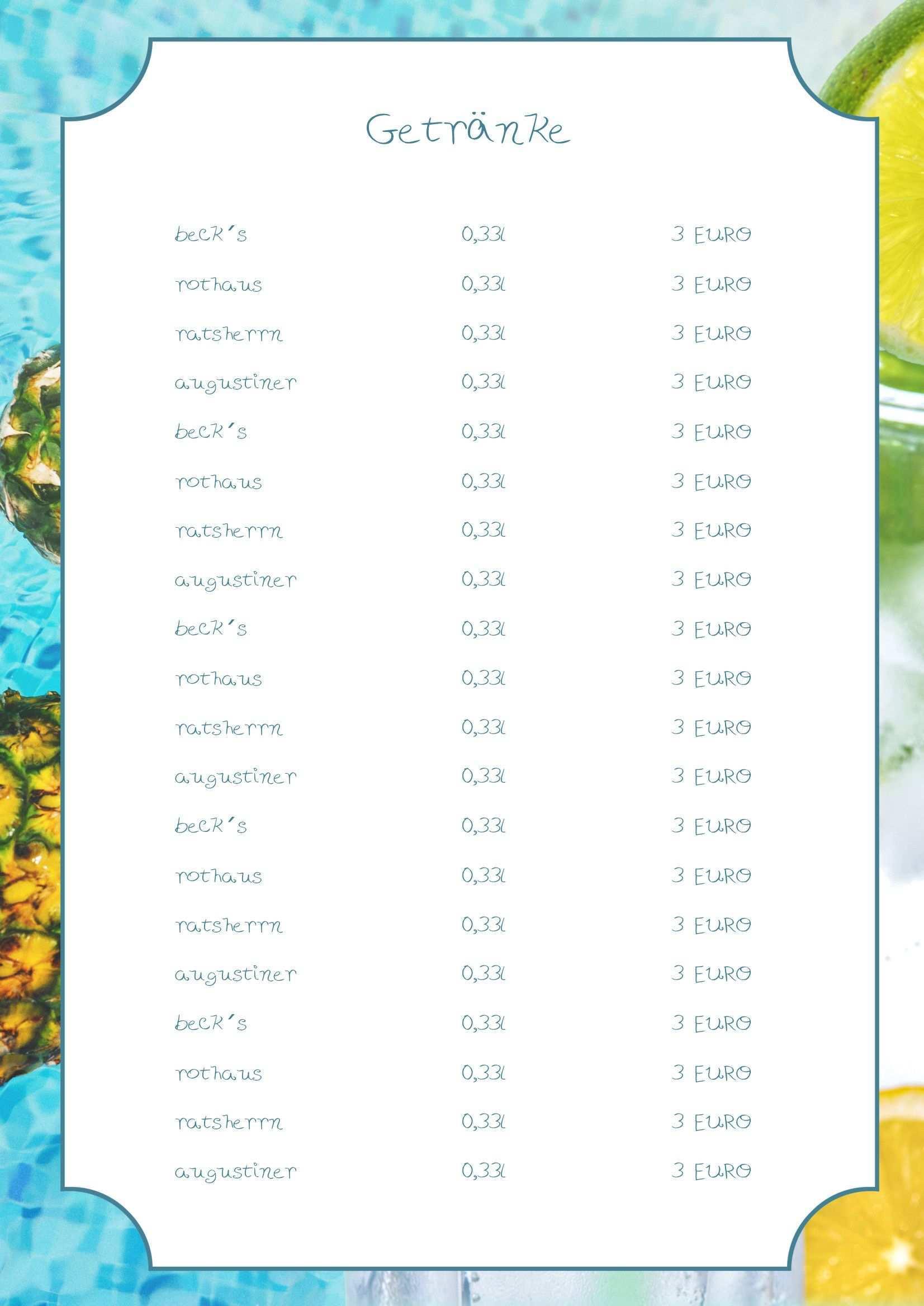 Suchst Du Noch Eine Vorlage Fur Deine Sommerkarten Bei Dieser Vorlage Musst Du Nur Die Texte Anpassen Und Schon Geht Der S Getranke Karte Speisekarte Getranke