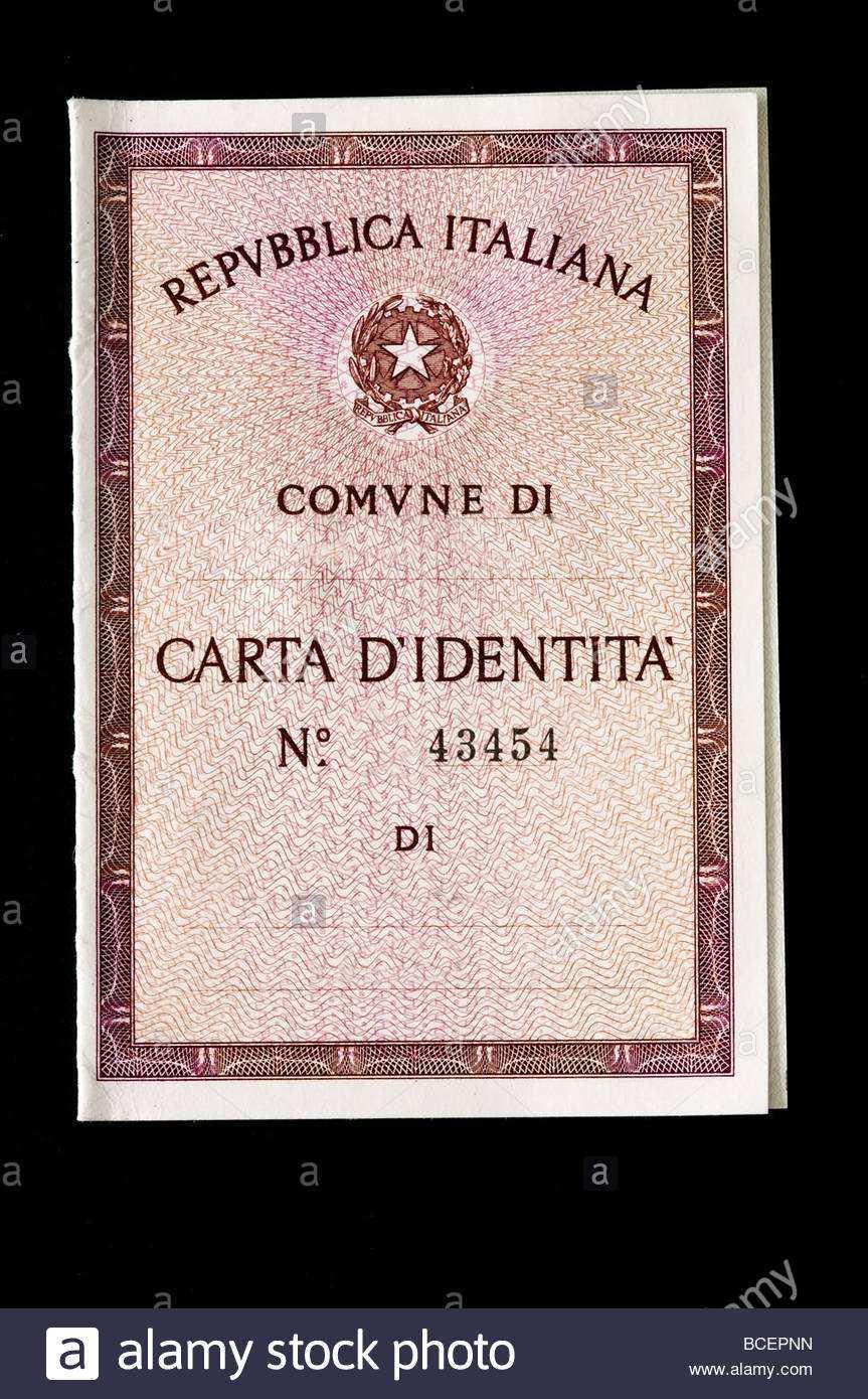Italienischen Personalausweis Stockfotografie Alamy
