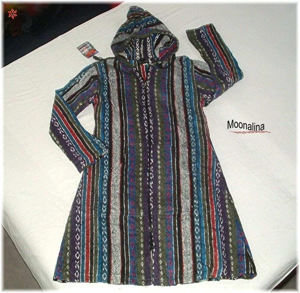 L Xl Traum Baja Mantel Kapuzen Long Jacke Ethno Boho Hippie Oko Handgewebt Ebay In 2020 Poncho Jacke Boho Kleidung Mantel Mit Kapuze