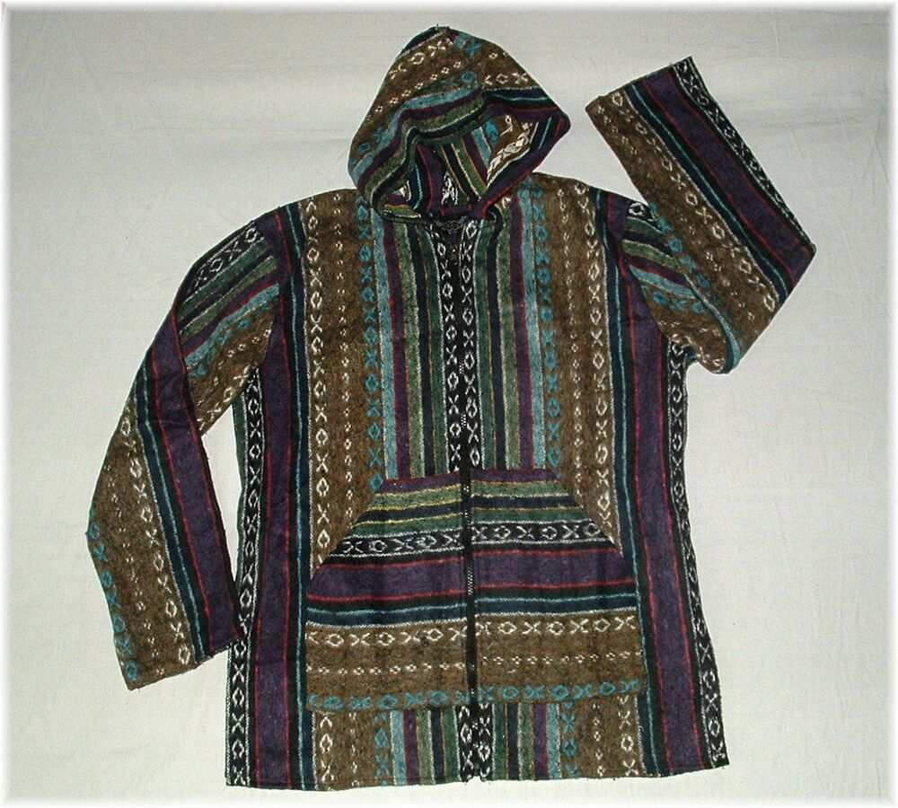 S M Baja Zip Hoody Kapuzen Jacke Boho Ethno Hippie Oko Alternativ Style S M Boho Kleidung Poncho Jacke Ethno