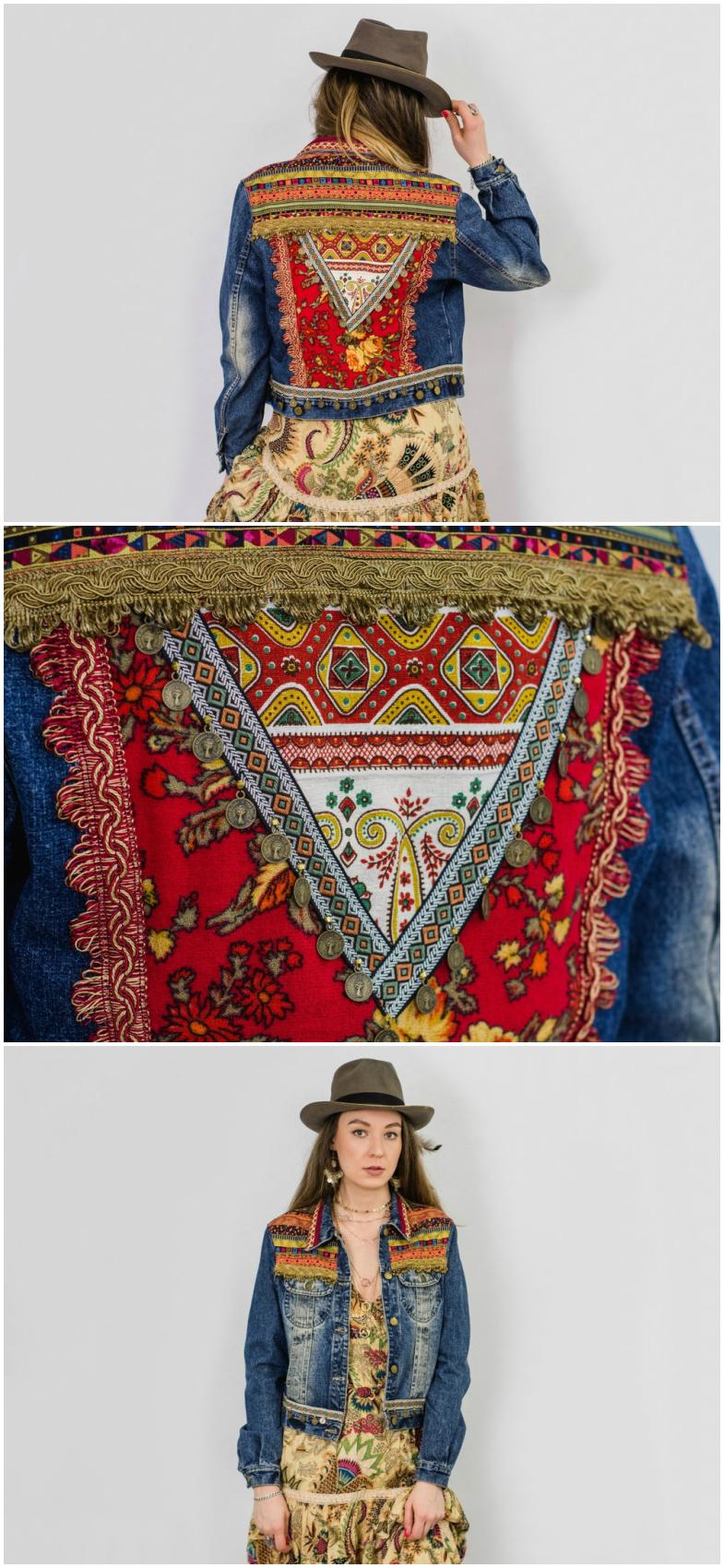 Festival Outfit Jeansjacke Mit Aztekischem Muster Boho Jacke Mit Fransen Und Spitze Festival Fashion Jeans Jacket Wi Jeansjacke Jacken Mantel Frauen