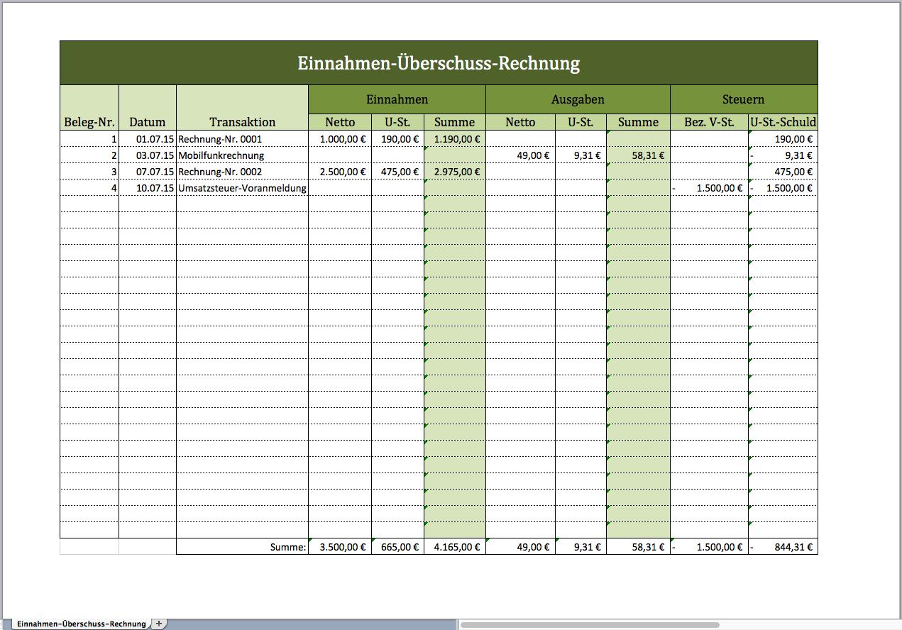Einnahmen Uberschuss Rechnung Als Excelvorlage