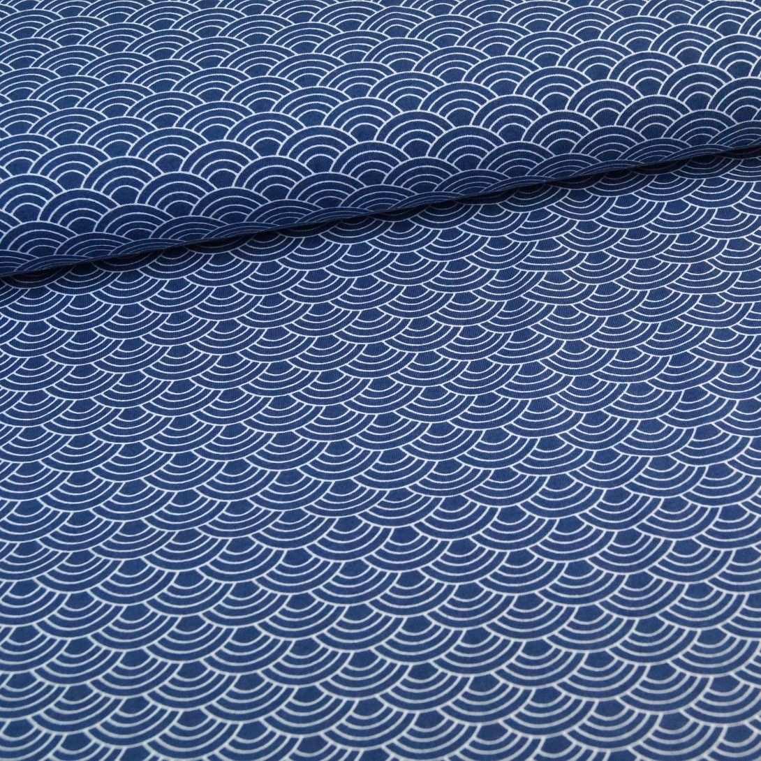 Bio Baumwolljersey Japanisches Muster Dunkelblau Japanische Muster Textilprojekte Stoffe