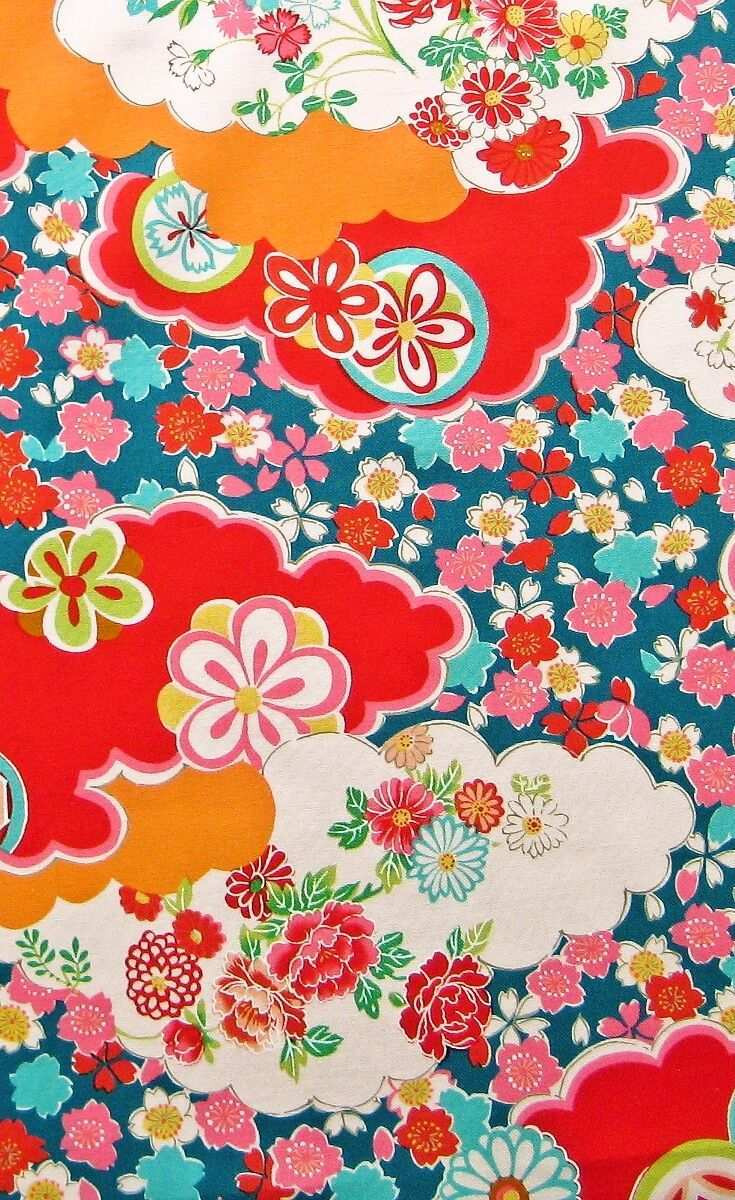 Blumen Und Wolken Turkis Stoff Aus Japan Muster Stoffe Stoffmuster Japandesign Pattern Japan Design Japanische Stoffe Japan