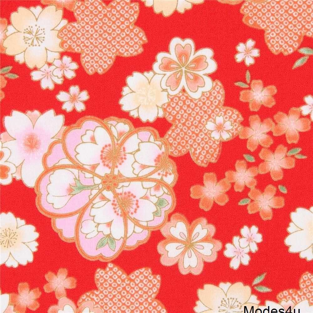 Roter Kreppstoff Mit Kirschblaœten Japanische Muster Japanische Stoffe Kirschbluten