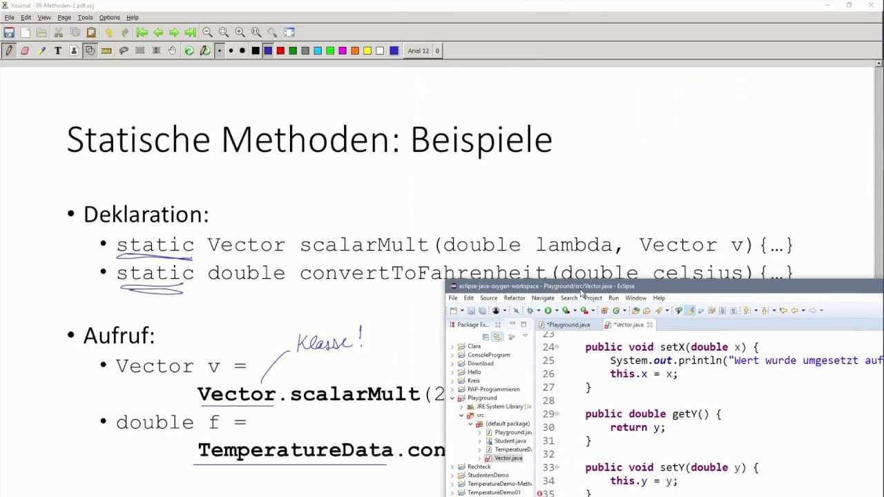 Oop In Java 08 08 Statische Methoden Bzw Klassen Methoden Beispiel Vector Youtube