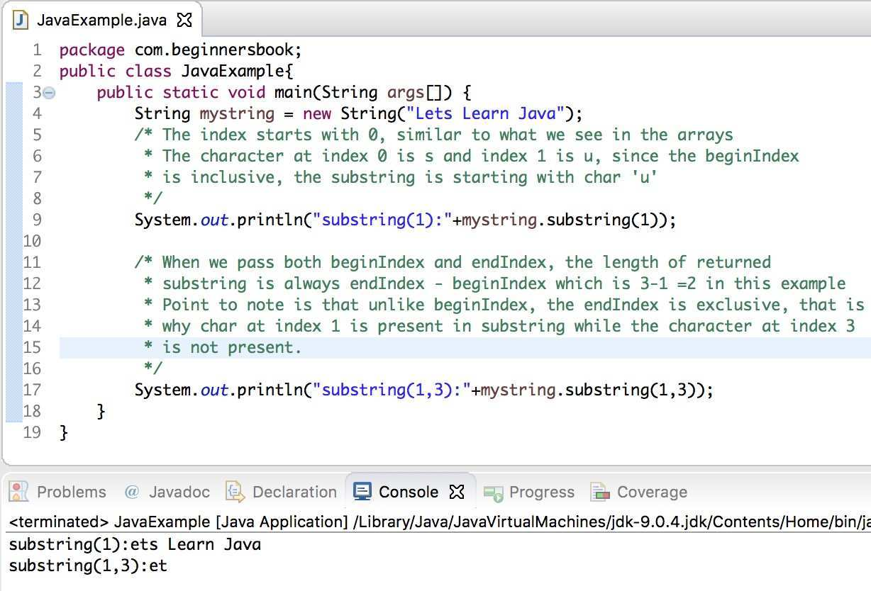 Java String Substring Method Example